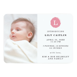 Pink Painted Monogram Photo Birth Announcement