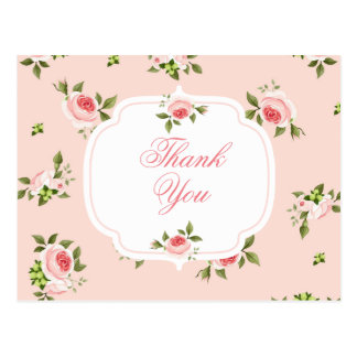 Pink Painted Roses on Pink Contemporary Postcard