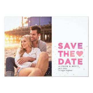 Pink Painterly Confetti Modern Photo Save the Date 13 Cm X 18 Cm Invitation Card