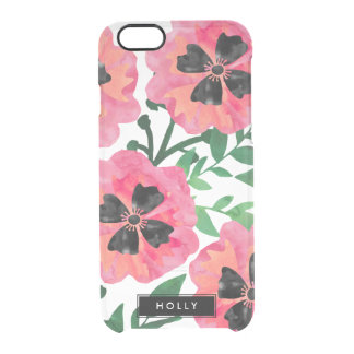 Pink Painterly Watercolor Floral Personalized Clear iPhone 6/6S Case
