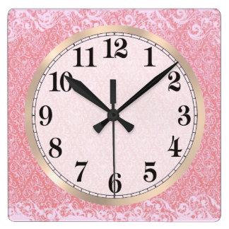 Pink Paisley Argyle Square Wall Clock