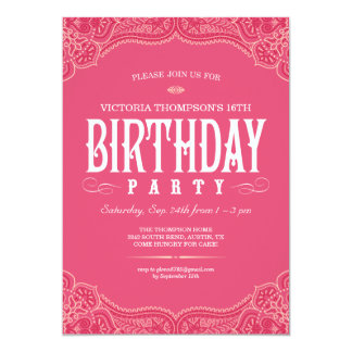 Pink Paisley Birthday Invitations