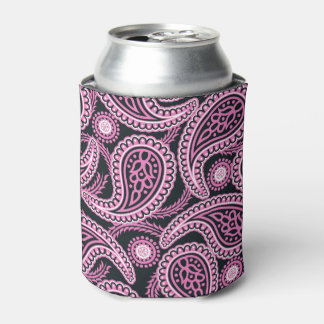 Pink paisley can cooler