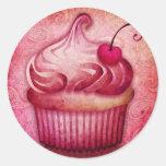 pink paisley cupcake classic round sticker