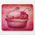 pink paisley cupcake mousepads