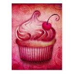 Pink Paisley Cupcake Postcard