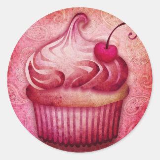 pink paisley cupcake round sticker