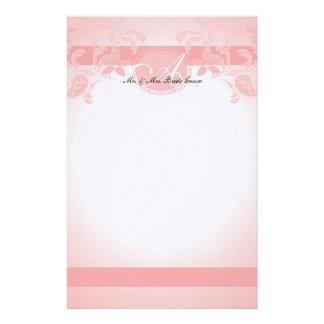 Pink Paisley Floral Monogram Personalised Stationery