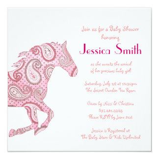 Pink Paisley Horse Baby Shower 13 Cm X 13 Cm Square Invitation Card