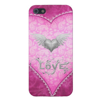 Pink Paisley Love Heart & Heart with Wings Covers For iPhone 5