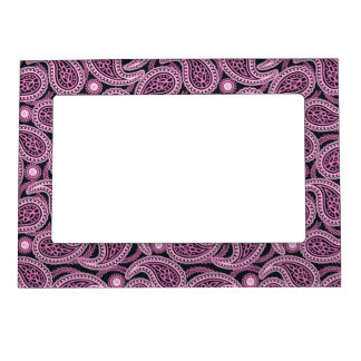 Pink paisley magnetic picture frame