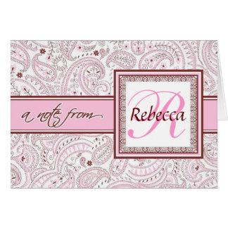Pink Paisley Monogrammed Name Card