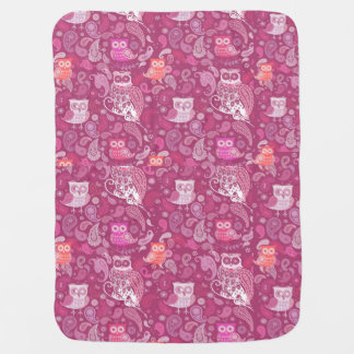Pink paisley owls cute pattern stroller blankets