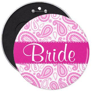 Pink Paisley Pattern Pinback Button
