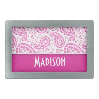 Pink Paisley Pattern Belt Buckle