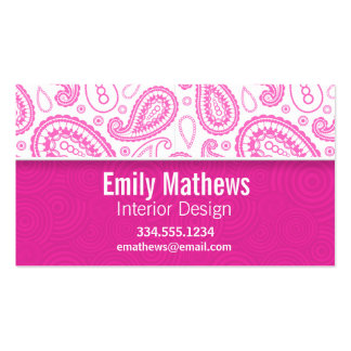 Pink Paisley Pattern Pack Of Standard Business Cards