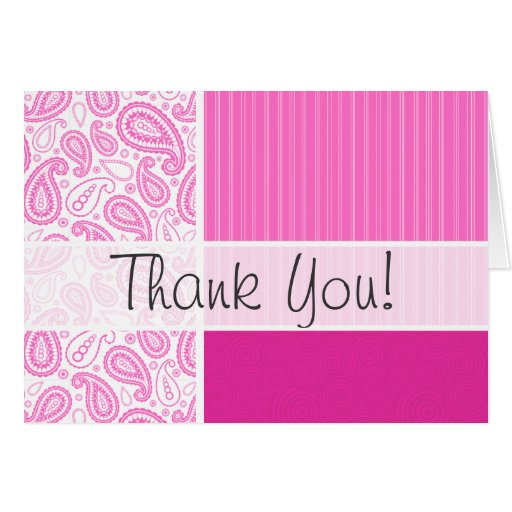 Pink Paisley Pattern Greeting Cards
