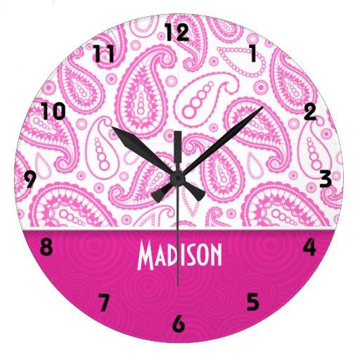 Pink Paisley Pattern Clocks
