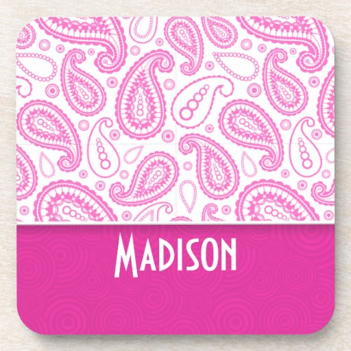 Pink Paisley Pattern Drink Coasters