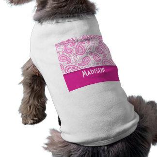 Pink Paisley Pattern Pet T Shirt