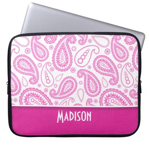 Pink Paisley Pattern Laptop Sleeves