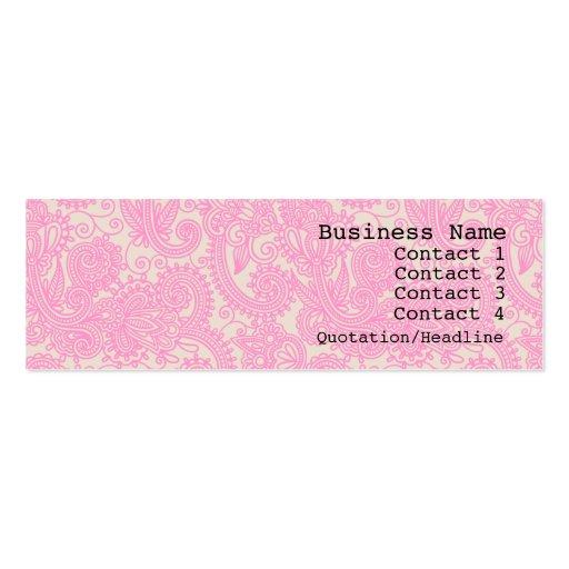 Pink Paisley Pattern Modern Skinny Business Card