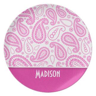 Pink Paisley Pattern Dinner Plates
