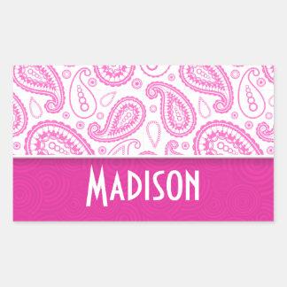 Pink Paisley Pattern Rectangular Sticker