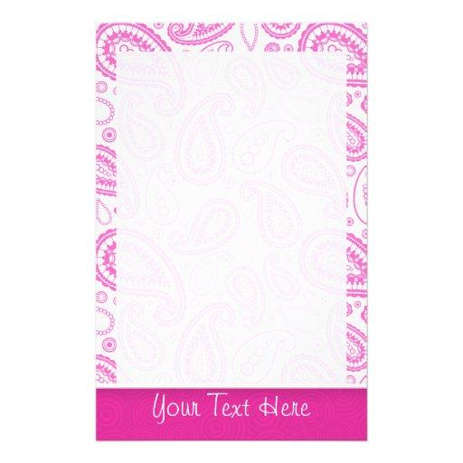 Pink Paisley Pattern Custom Stationery