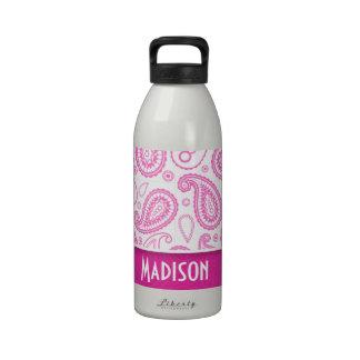 Pink Paisley Pattern Reusable Water Bottle