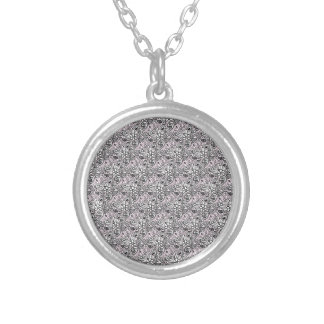 Pink paisley silver plated necklace
