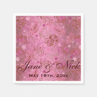 Pink Paisley Wedding Disposable Serviettes