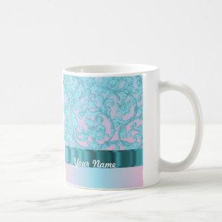 Pink & pale blue damask lace basic white mug