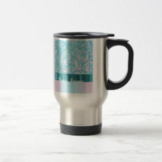 Pink & pale blue damask lace stainless steel travel mug