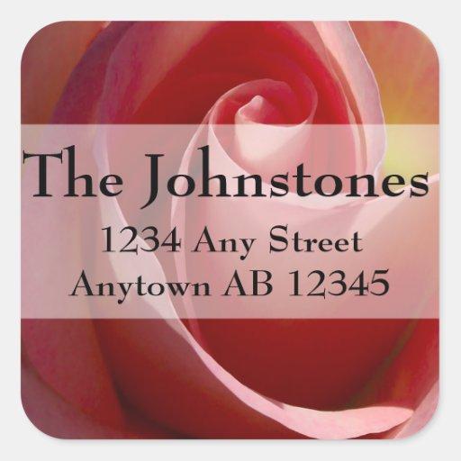 Pink Pale Moon Rose Wedding Return Address Sticker