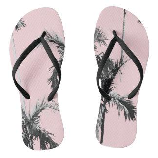 Pink Palm Tree Flip Flops Thongs