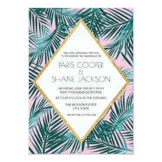 Pink Palm Wedding Invitation 5x7