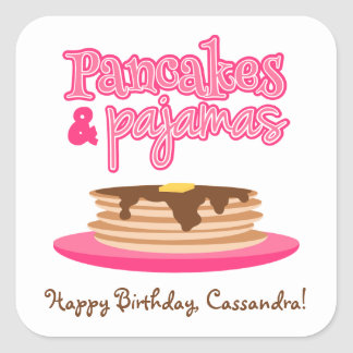 Pink Pancakes and Pajamas Birthday Party Square Sticker