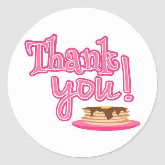 Pink Pancakes Thank You Classic Round Sticker
