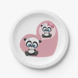 Pink  Panda Teddy Bear Heart Wedding Bridal Shower Paper Plate