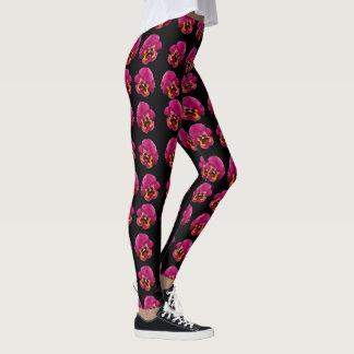 Pink Pansies On Black, Leggings