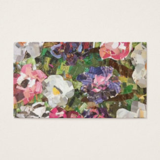 Pink Paper Flower Collage Business Cards