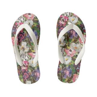 """Pink Paper Flower Collage"" Girls Flip Flops"