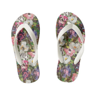 """Pink Paper Flower Collage"" Girls Flip Flops Thongs"