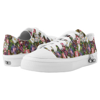 Pink Paper Flower Collage Low Tops Printed Shoes