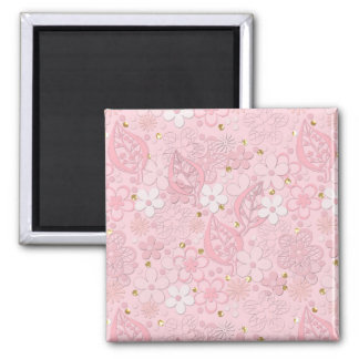 Pink paper flowers magnet