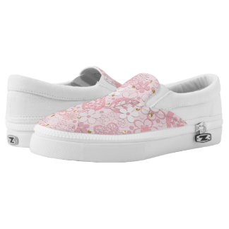 Pink paper flowers slip on shoes