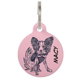 Pink Papillon Dog Tag Macy 1