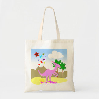 Pink Parasaurolophus Cartoon Dinosaur Bag/ Tote