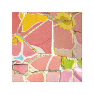 Pink Parc Guell Tiles in Barcelona Spain Canvas Print